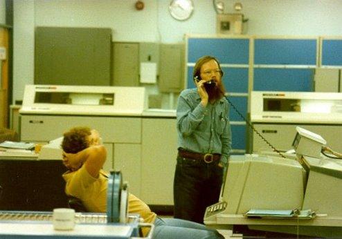 Joey Vossen and Barry Miller in UM computer room